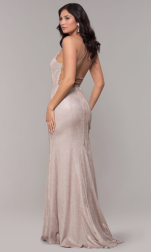 Image of iridescent-knit long open-back prom dress. Style: PO-8478 Detail Image 5
