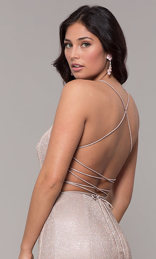 Image of iridescent-knit long open-back prom dress. Style: PO-8478 Detail Image 7