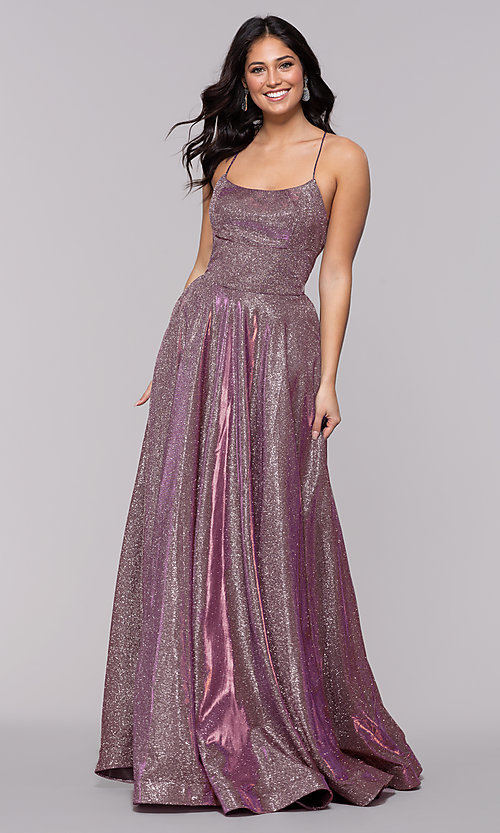 Image of square-neck long iridescent-glitter prom dress. Style: PO-8472 Front Image
