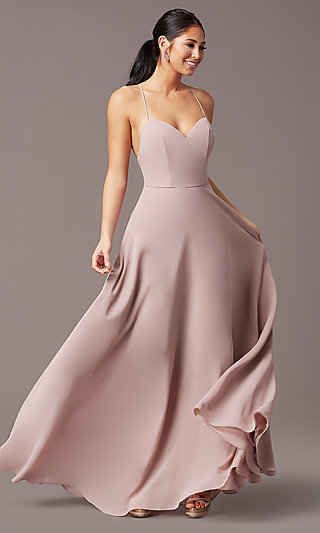 Chiffon V-Neck Long Designer Formal Dress by Simply