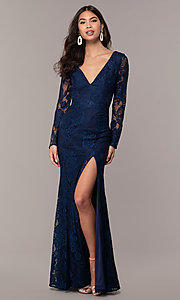 Image of lace v-neck long-sleeve formal dress by Simply. Style: LP-SD-25922 Back Image