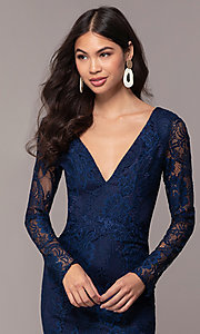 Image of lace v-neck long-sleeve formal dress by Simply. Style: LP-SD-25922 Detail Image 1