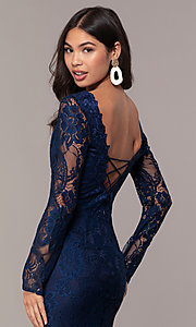 Image of lace v-neck long-sleeve formal dress by Simply. Style: LP-SD-25922 Detail Image 2
