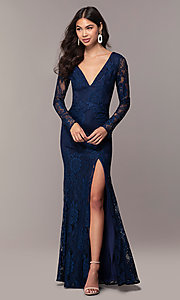Image of lace v-neck long-sleeve formal dress by Simply. Style: LP-SD-25922 Detail Image 3