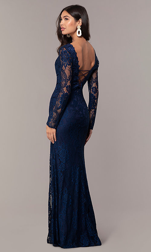 Image of lace v-neck long-sleeve formal dress by Simply. Style: LP-SD-25922 Front Image