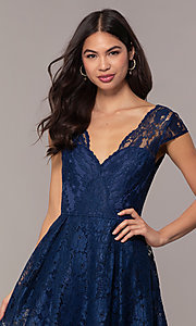 Image of a-line long lace formal dress with cap sleeves. Style: LP-PL-25243 Detail Image 1