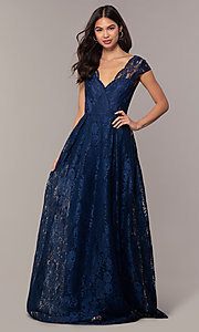 Image of a-line long lace formal dress with cap sleeves. Style: LP-PL-25243 Detail Image 3