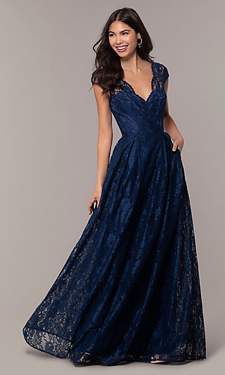 A-Line Long Lace Formal Dress with Cap Sleeves