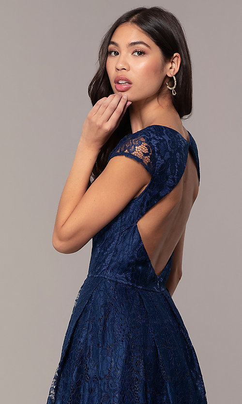 Image of a-line long lace formal dress with cap sleeves. Style: LP-PL-25243 Detail Image 2