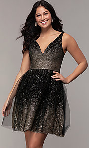 Image of glitter tulle short v-neck prom party dress. Style: LP-26060 Front Image
