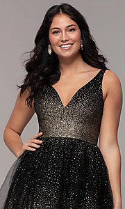 Image of glitter tulle short v-neck prom party dress. Style: LP-26060 Detail Image 1