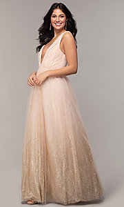 Image of v-neck long glitter-tulle prom dress. Style: LP-26059 Front Image