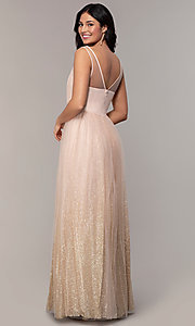 Image of v-neck long glitter-tulle prom dress. Style: LP-26059 Back Image