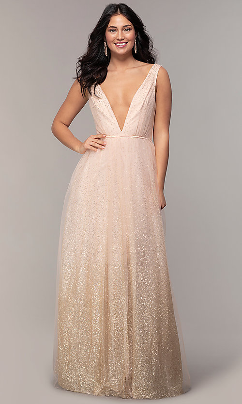 Image of v-neck long glitter-tulle prom dress. Style: LP-26059 Detail Image 3