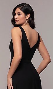Image of long black formal v-neck evening gown with lace trim. Style: LP-27774 Detail Image 2