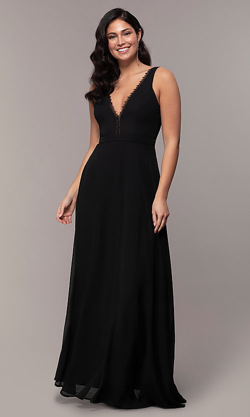 Image of long black formal v-neck evening gown with lace trim. Style: LP-27774 Front Image