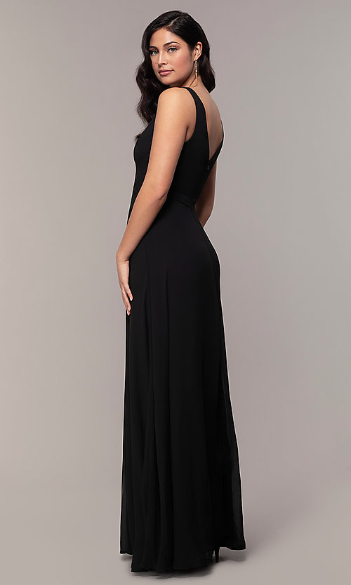 Image of long black formal v-neck evening gown with lace trim. Style: LP-27774 Back Image