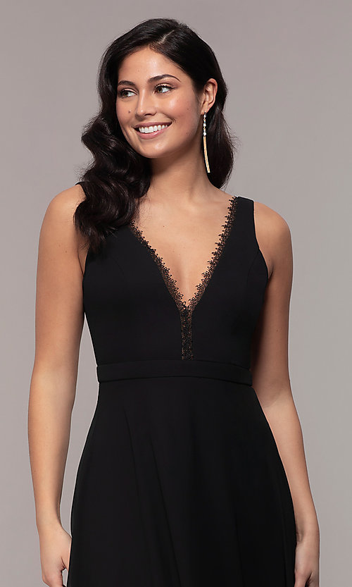 Image of long black formal v-neck evening gown with lace trim. Style: LP-27774 Detail Image 1
