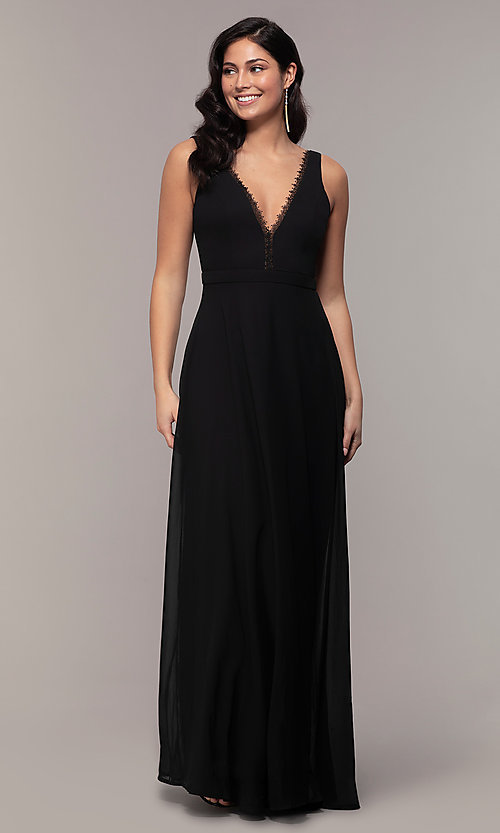 Image of long black formal v-neck evening gown with lace trim. Style: LP-27774 Detail Image 3