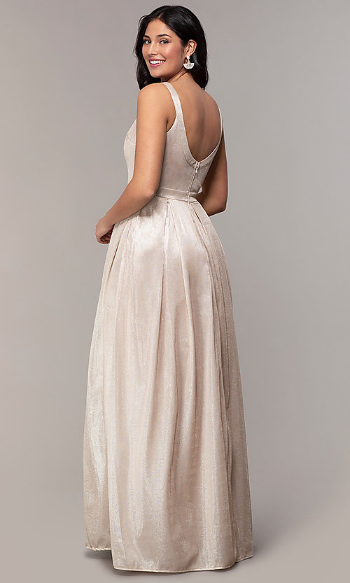 Image of metallic long formal evening dress with pleats. Style: LP-25892 Back Image