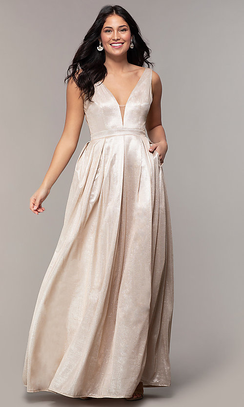 Image of metallic long formal evening dress with pleats. Style: LP-25892 Detail Image 3