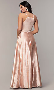 Image of long a-line high-neck formal satin dress. Style: LP-25559 Back Image