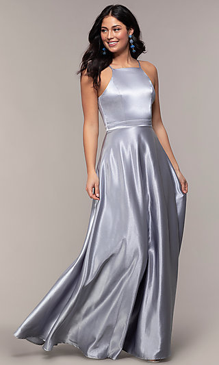 Long A-Line High-Neck Formal Satin Dress
