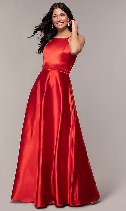 Image of long a-line high-neck formal satin dress. Style: LP-25559 Detail Image 3