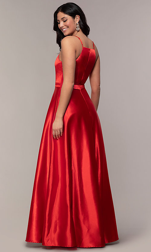 Image of long a-line high-neck formal satin dress. Style: LP-25559 Detail Image 4