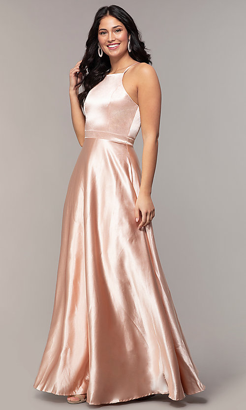 Image of long a-line high-neck formal satin dress. Style: LP-25559 Front Image
