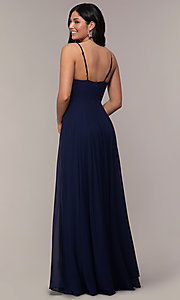 Image of faux-wrap long chiffon v-neck formal dress. Style: LP-25257 Back Image