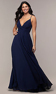 Image of faux-wrap long chiffon v-neck formal dress. Style: LP-25257 Detail Image 3