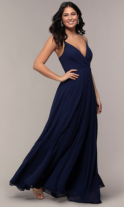 Image of faux-wrap long chiffon v-neck formal dress. Style: LP-25257 Front Image