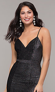 Image of long metallic black v-neck formal dress with slit. Style: LP-26008 Detail Image 1
