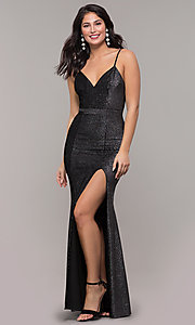 Image of long metallic black v-neck formal dress with slit. Style: LP-26008 Front Image