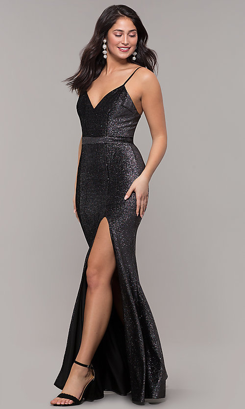 Image of long metallic black v-neck formal dress with slit. Style: LP-26008 Detail Image 3