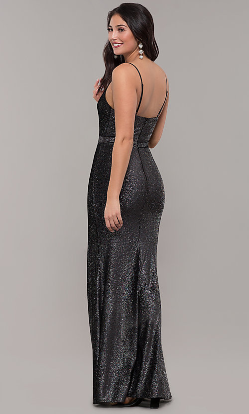 Image of long metallic black v-neck formal dress with slit. Style: LP-26008 Back Image