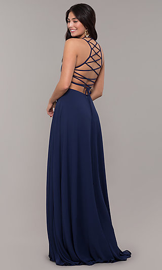Corset-Open-Back Long Chiffon Formal Dress by Simply