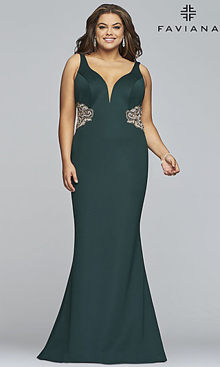 Faviana Women's Formal Gown with Illusion Insets