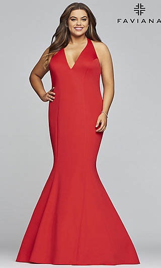 Long Women's V-Neck Mermaid Plus Formal Gown