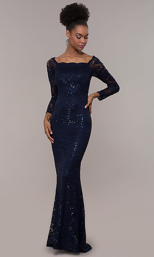a7ab39d04fb22 Image of long-sleeve sequin-lace long prom dress by Simply. Style: