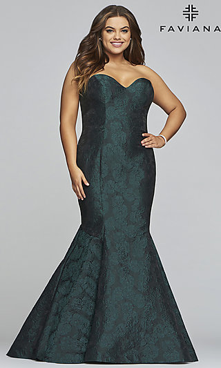 Long Faviana Mermaid-Style Print Plus Formal Gown