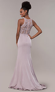 Image of long trumpet-skirt embroidered-bodice formal dress. Style: DQ-PL-2800 Detail Image 5