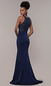 Image of long trumpet-skirt embroidered-bodice formal dress. Style: DQ-PL-2800 Back Image
