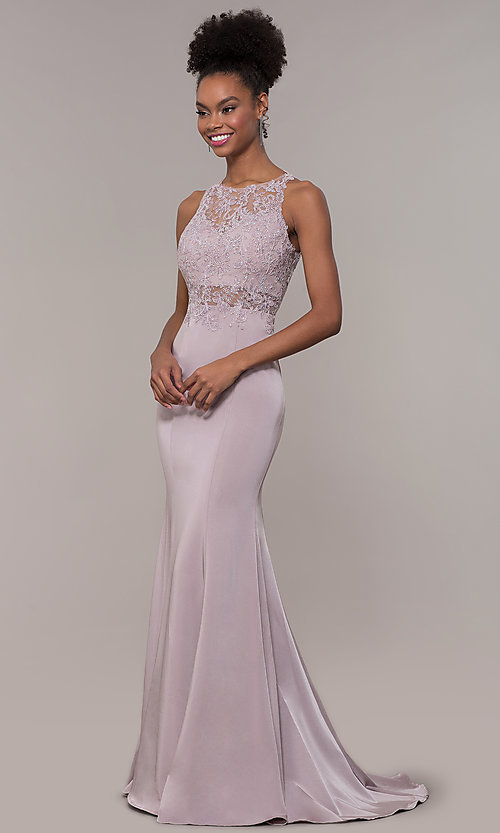 Image of long trumpet-skirt embroidered-bodice formal dress. Style: DQ-PL-2800 Detail Image 4