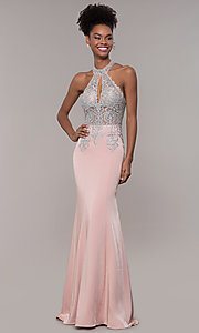 Image of JVNX by Jovani long embroidered-bodice formal dress. Style: JO-JVNX1259 Front Image
