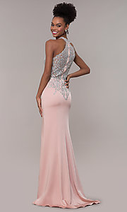 Image of JVNX by Jovani long embroidered-bodice formal dress. Style: JO-JVNX1259 Back Image