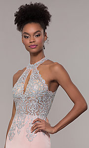Image of JVNX by Jovani long embroidered-bodice formal dress. Style: JO-JVNX1259 Detail Image 1
