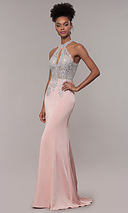 Image of JVNX by Jovani long embroidered-bodice formal dress. Style: JO-JVNX1259 Detail Image 3