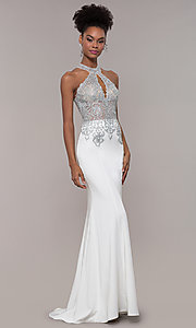 Image of JVNX by Jovani long embroidered-bodice formal dress. Style: JO-JVNX1259 Detail Image 4